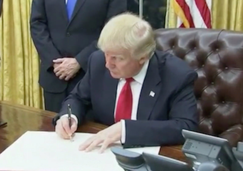 Trump Signs Executive Order Pulling the U.S. Out of the Trans-Pacific Partnership