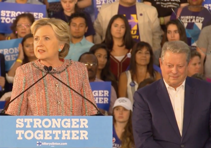Hillary Clinton Brings Back Al Gore and Talks Green, but She Still Opposes the Carbon Tax (Video)