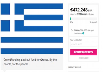 Thousands Donate to Crowdfunding Site for Greek Bailout
