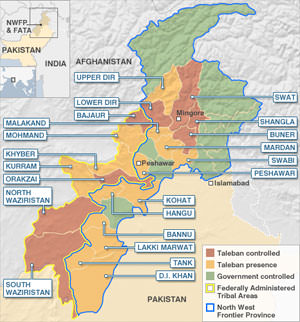 Taliban Gain Ground, Color on Map