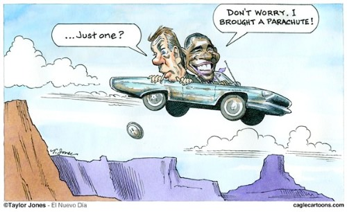 Obama and Boehner Cliff Driving