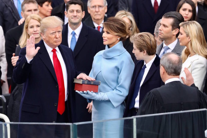 Donald Trump being sworn in as president of the United States on Jan. 20.  (White House)