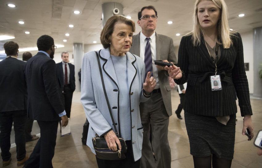 Dianne Feinstein, D-Calif., the ranking member on the Senate Judiciary  Committee, takes a reporter's question in Washington, D.C. (J. Scott  Applewhite / AP)