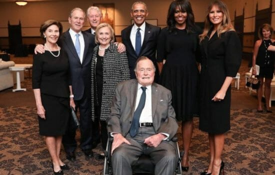 A Portrait of Power at Barbara Bush's Funeral, Sans The Donald