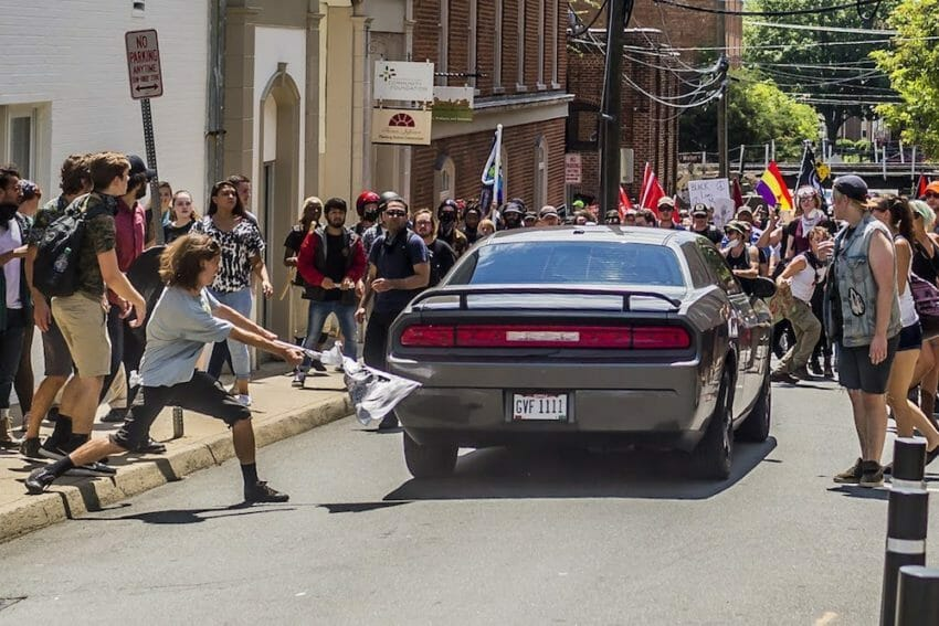 4a685f67a110a Truthdig s photographer-reporter Michael Nigro captured the moment when an  automobile was driven into a group of demonstrators at Charlottesville