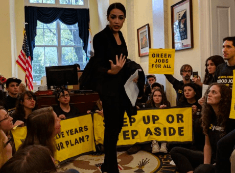 Alexandria Ocasio-Cortez Joins Climate Protest Against Nancy Pelosi