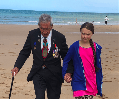 Greta Thunberg Holds Up D-Day Veteran's Call to Avert Collapse of Civilization
