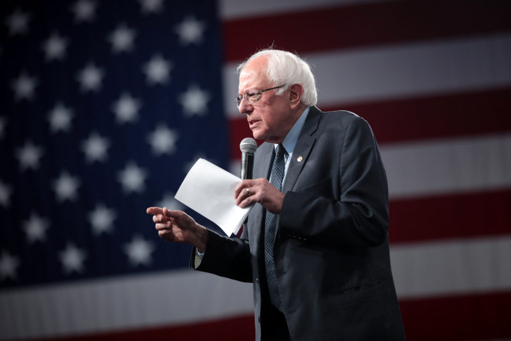 Sen. Bernie Sanders, I-Vt., speaks in Des Moines, Iowa.