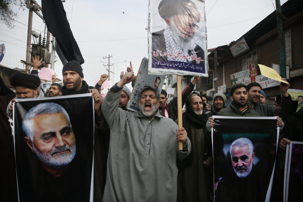 Kashmiri Shiite Muslims protest following a U.S. airstrike that killed Iranian Revolutionary Guard Gen. Qassem Soleimani.